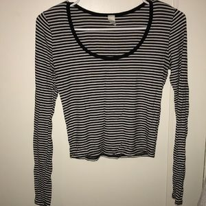 Striped black and white crop top.